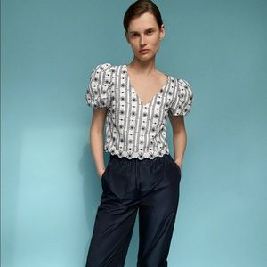 Zara puff sleeve embroidered eyelet blouse
